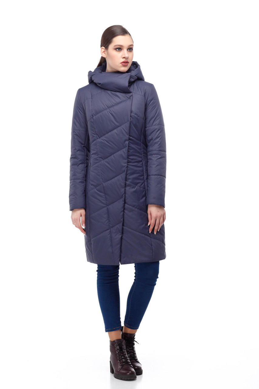 Женское синее пальто демисезонное теплое разные цвета размер 40-52