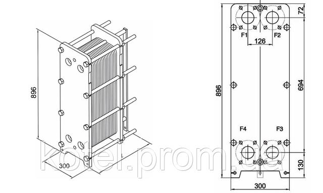 Размеры разборного пластинчатого теплообменника СТА-14