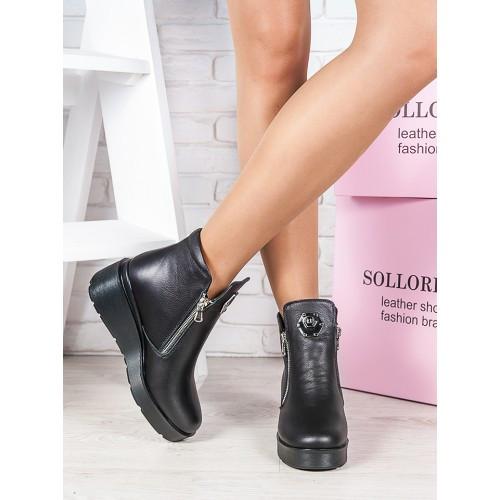 Женские зимние кожаные  ботинки на танкетке с молнией с двух сторон