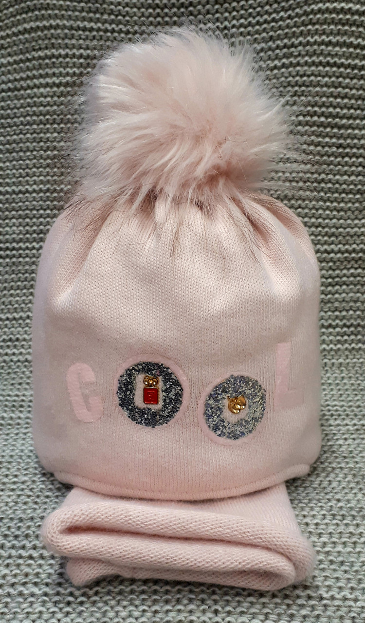 Шапка с хомутом детская  на девочку зима полушерсть розовая Ambra (Польша) размер 48 50