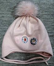 Шапка с хомутом детская  на девочку зима полушерсть розовая Ambra (Польша) размер 48 50, фото 2