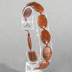 Авантюрин золотой песок, браслет, 134БРА