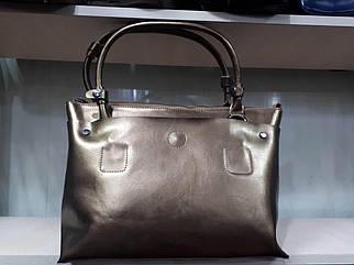 Кожаная женская сумка золотистого цвета с двумя ручками