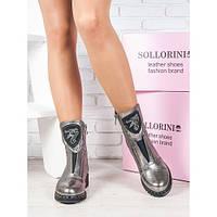 Женские зимние  кожаные ботинки на низком ходу со вставленной резинкой на подъёме , фото 1