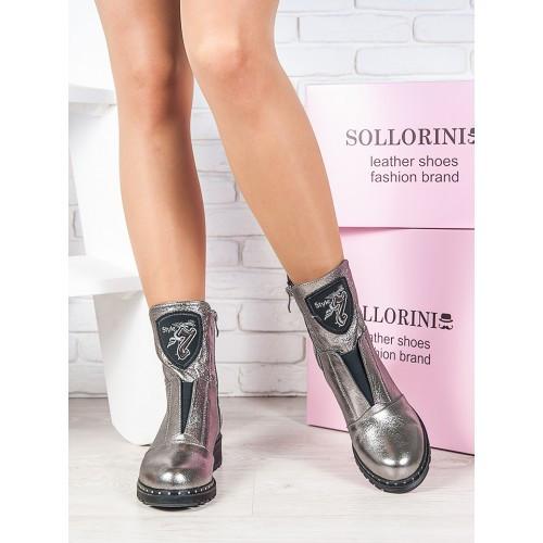 Женские зимние  кожаные ботинки на низком ходу со вставленной резинкой на подъёме