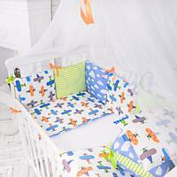 """Baby Design Премиум """"Самолеты"""" защитные бортики в кроватку для новорожденных ТМ Маленькая Соня"""