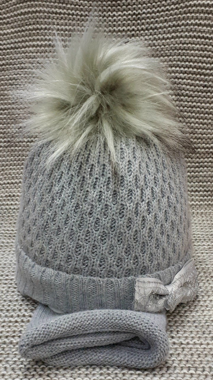 Шапка с хомутом детская  на девочку зима полушерсть серого цвета Ambra (Польша) размер 44 46 48