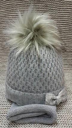 Шапка с хомутом детская  на девочку зима полушерсть серого цвета Ambra (Польша) размер 44 46 48, фото 2