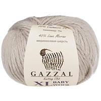 Пряжа из мериноса Gazzal Baby wool XL 817 светло-серый (Газзал Бeби вул ХЛ)