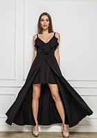 Яркое женское платье с красивым шлейфом и баской на груди Sidney