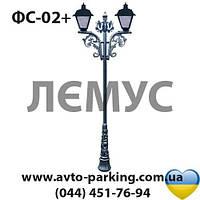 Уличная опора освещения на два светильника с дополнительным декором ФС-02+