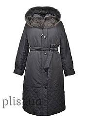 Пальто зимнее с натуральным мехом и стеганой подстежкой. PLIST
