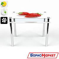 Обеденный стол стеклянный (фотопечать) Прямоугольный с проходящей полкой Red berry от БЦ-Стол