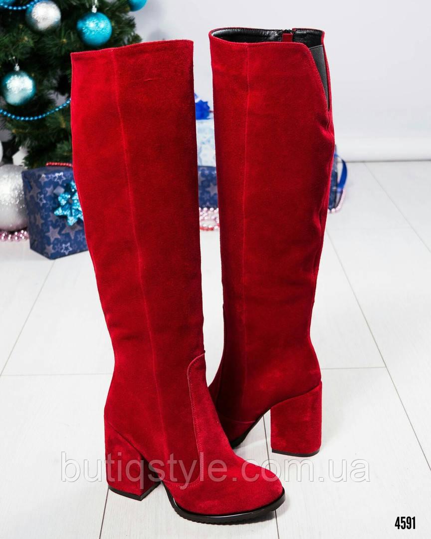 eb06be28a596 Демисезонные женские сапоги на толстом каблуке красные натуральная замша:  ...