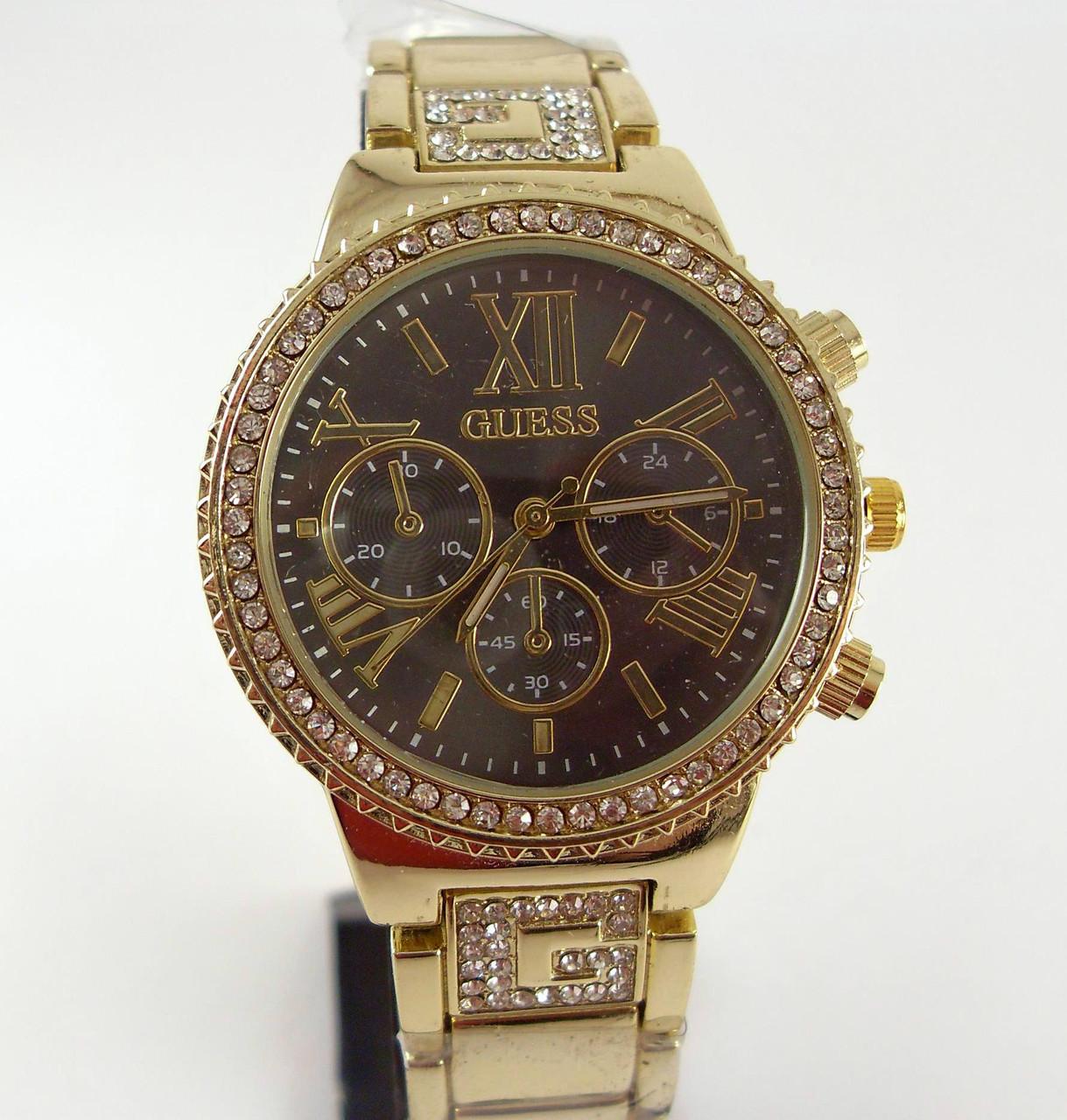 Часы наручные женские Guess 012808 золото с черным в стразах ... 282e6a9256b