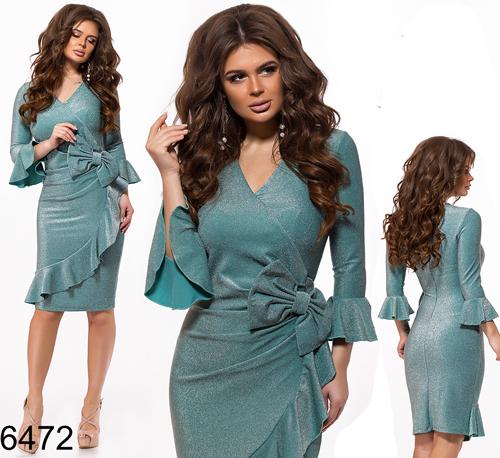 Вечернее платье с рюшами (бирюза) 826472