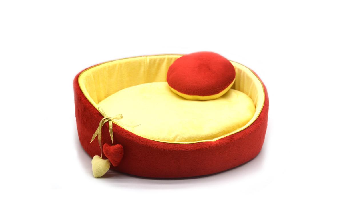 Лежак для собак и котов Плюш красный №1 d-400 h-140