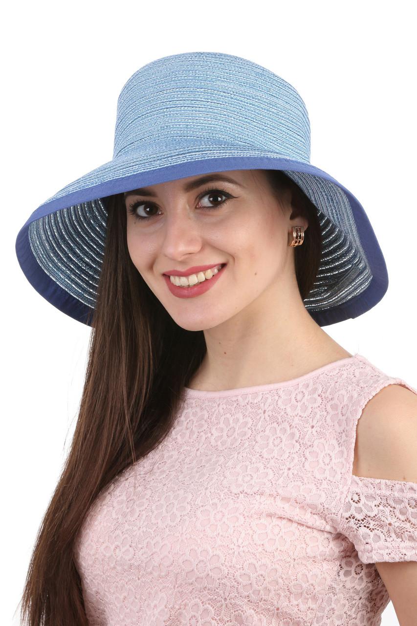 Легкая летняя шляпа голубая