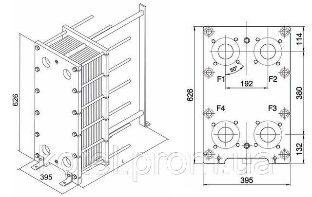 Размеры разборного пластинчатого теплообменника СТА-9