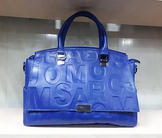 Стильная женская кожаная сумка-почтальонка синего цвета