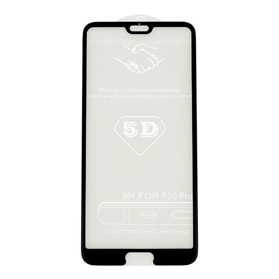 Стекло защитное для телефона Huawei P20 Pro черное с полной проклейкой 5D