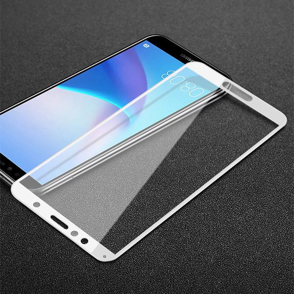 Скло захисне для телефону Huawei Y6 2018, Y6 Prime, біле, з повною проклейкою, 5D