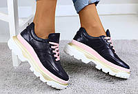 Женские весенние кроссовки модные стильные на высокой платформе на шнуровке (синие)