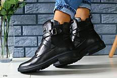 Женские кожаные зимние ботинки, ремни,  р.40,41