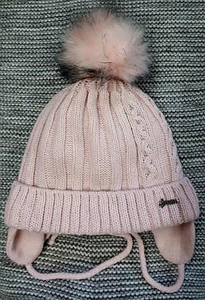 Шапка с хомутом детская  на девочку зима пудра GRANS (Польша) размер 50 52, фото 2