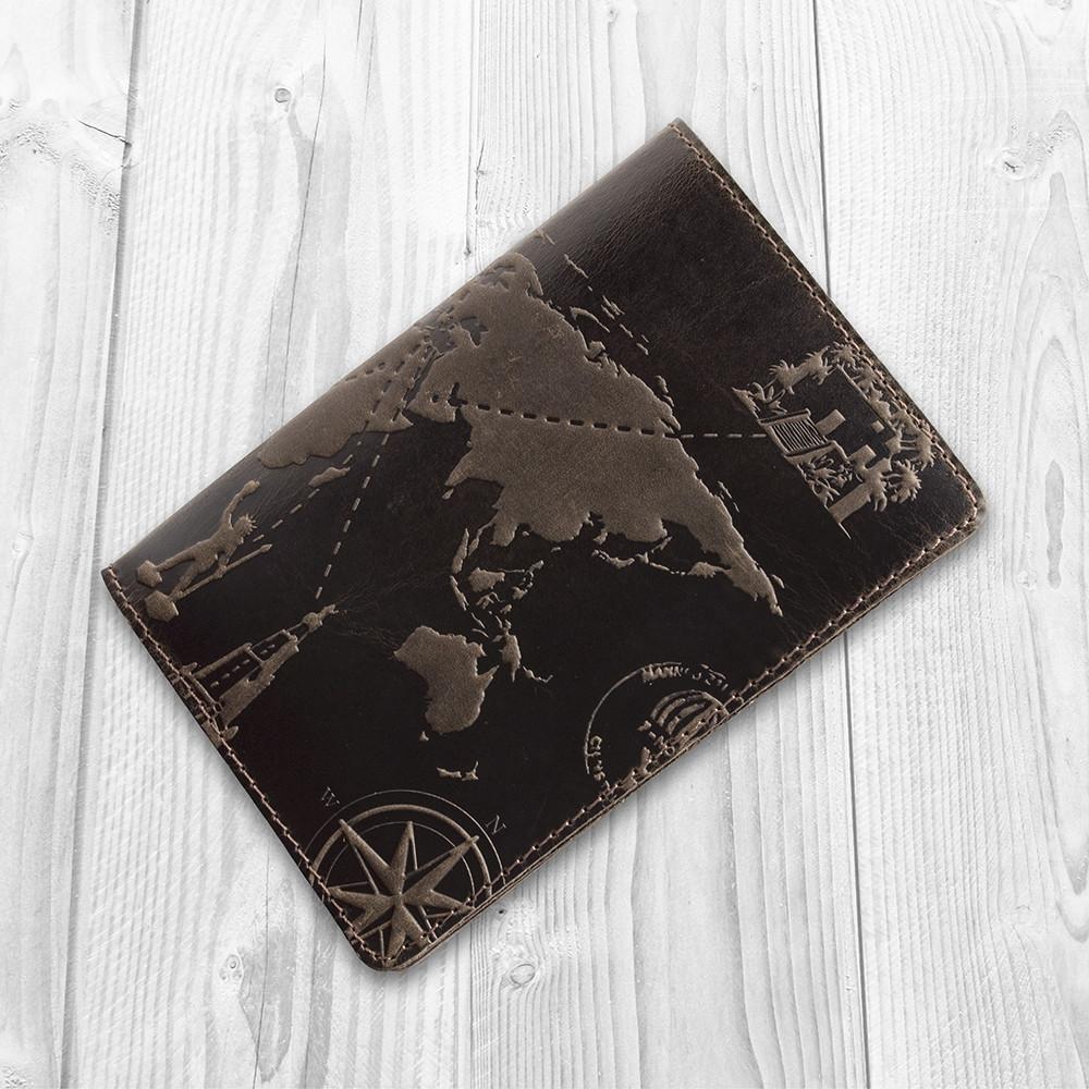 Обложка для паспорта HiArt Shabby Gavana Brown 7 wonders of the world