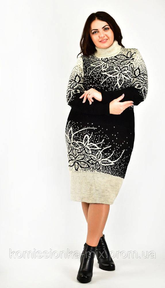 Платье теплое вязаное полушерсть
