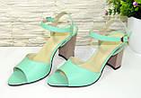 Женские кожаные босоножки на устойчивом каблуке, цвет мята, фото 4