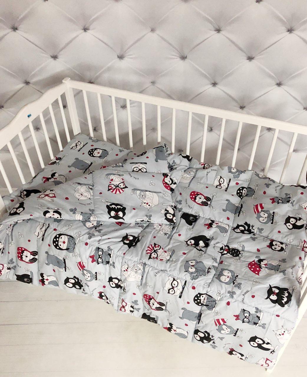 """Детский комплект одеяло и подушка для новорожденного  принт """"Совушки"""""""