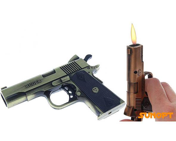 """Зажигалка """"Пистолет RUGER"""", пьезо, газ, (два острых пламени) №4152-1, фото 2"""