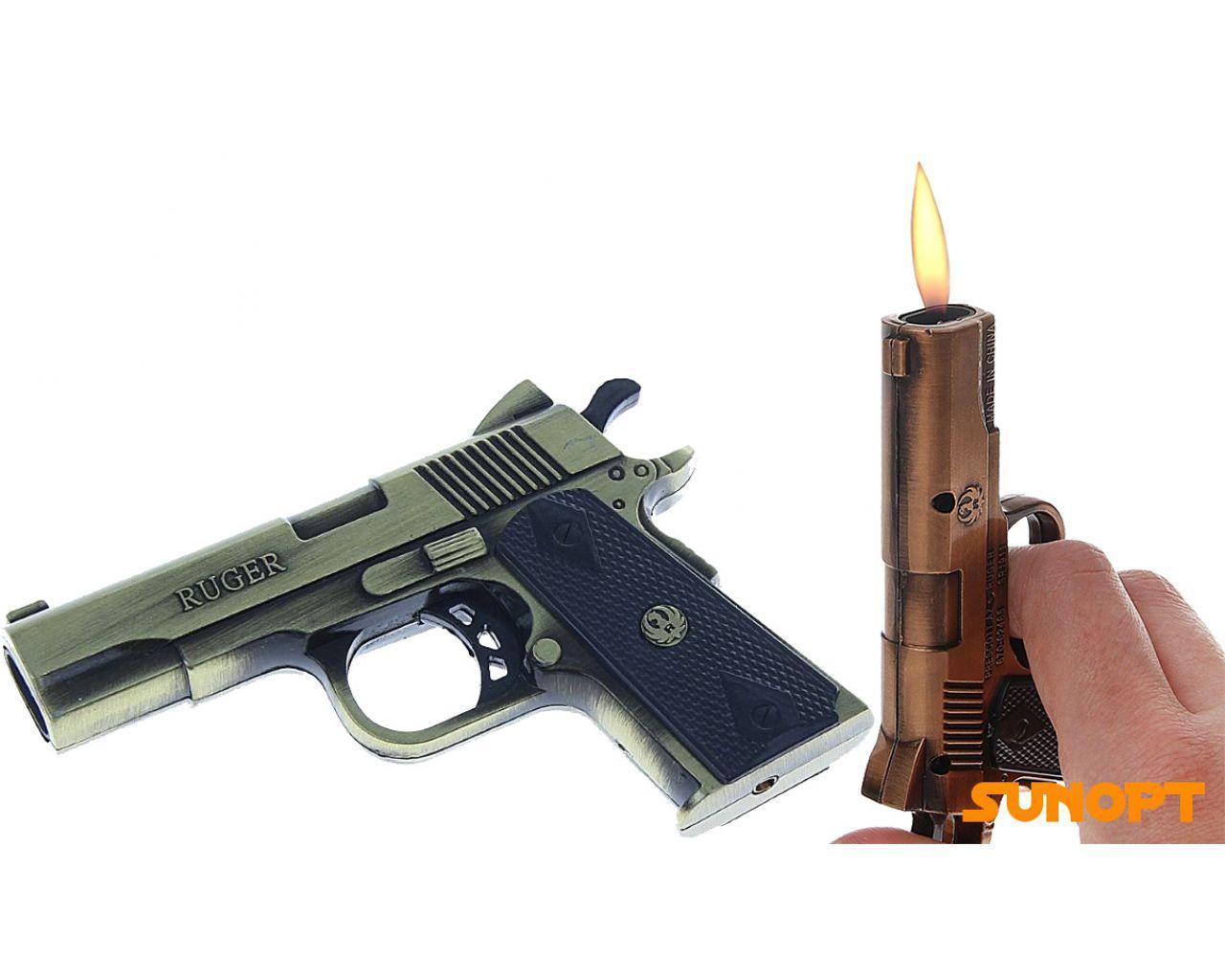"""Зажигалка """"Пистолет RUGER"""", пьезо, газ, (два острых пламени) №4152-1"""
