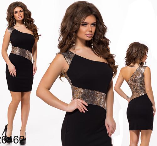Вечернее платье на одно плечо (черный) 826462