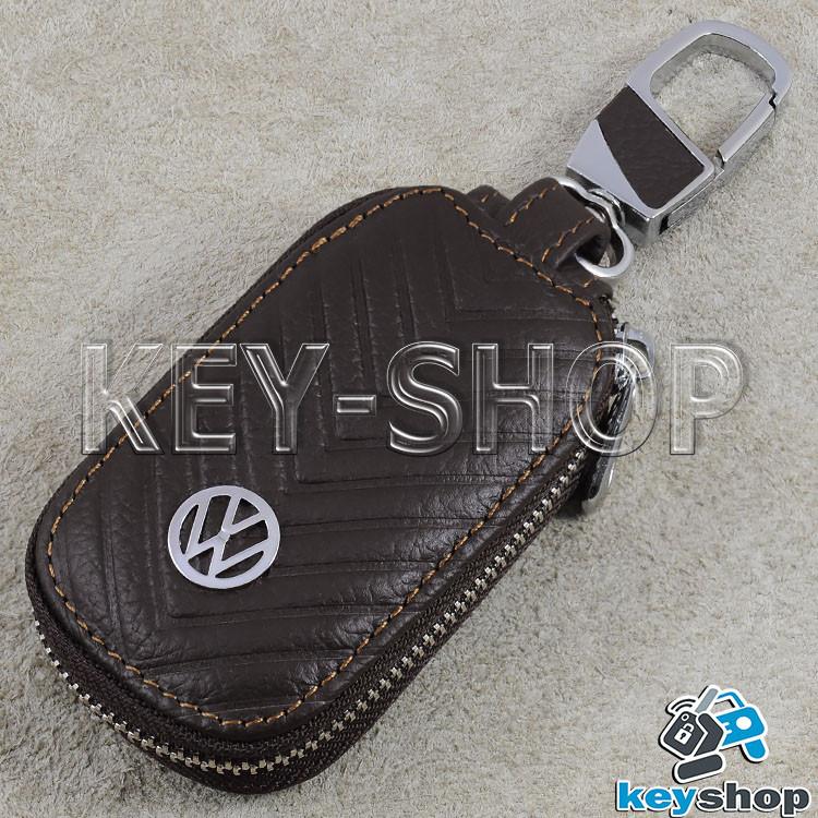 Ключница карманная (кожаная, коричневая, с тиснением, на молнии, с карабином) логотип Volkswagen (Фольксваген)