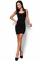 3e1c3436743 Модное платье короткое облегающее без рукав кружевная вставка декольте  черное