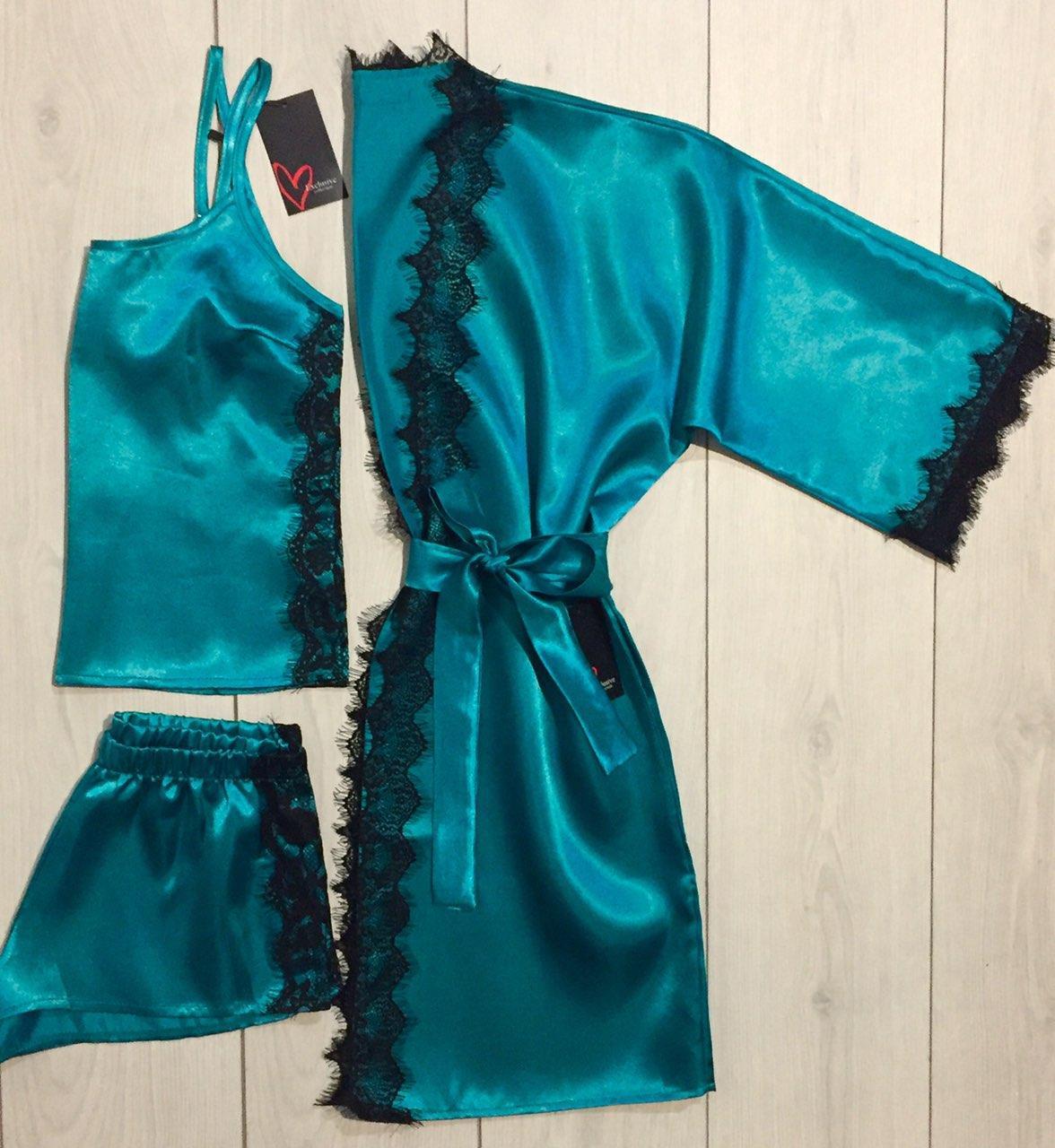 Атласный комплект для дома 007-026, халат+ майка+шорты.