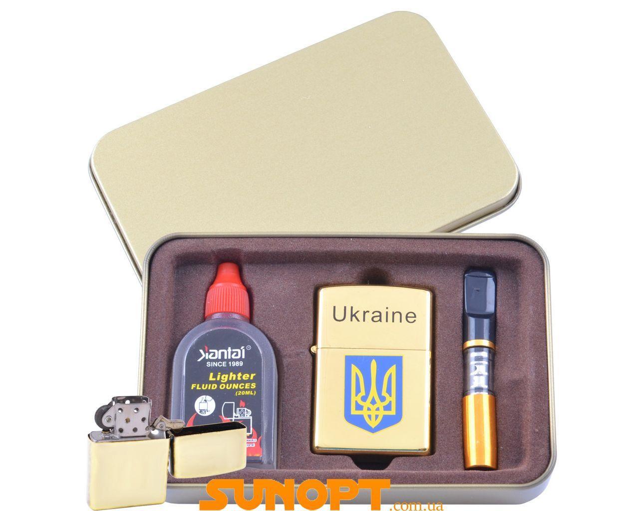Зажигалка бензиновая в подарочной коробке (Баллончик бензина/Мундштук) Герб Украины №XT-4929-1