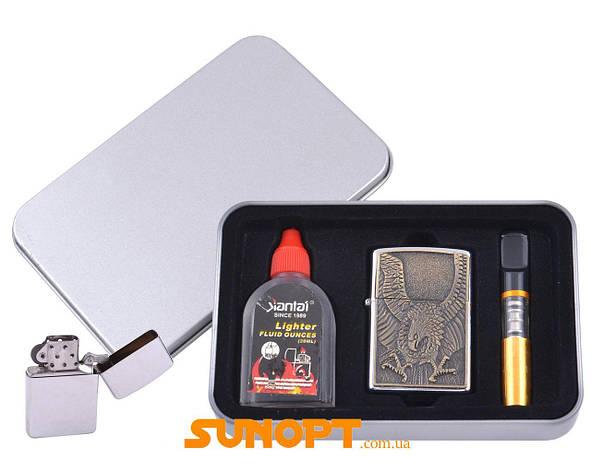 Зажигалка бензиновая в подарочной коробке (Баллончик бензина/Мундштук) Орел №XT-4707-8, фото 2