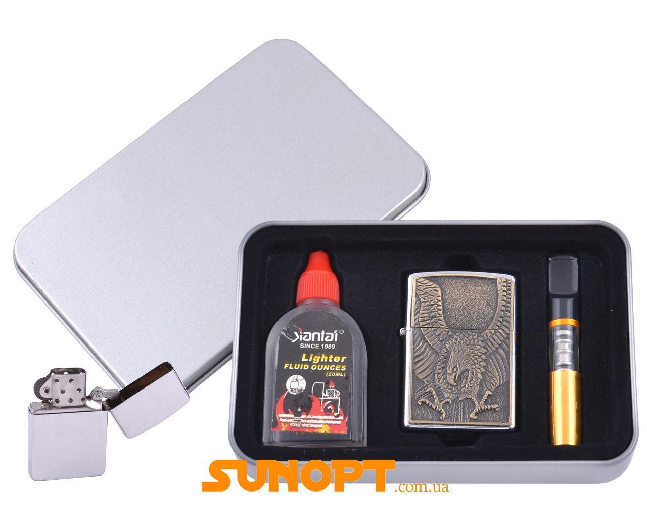 Зажигалка бензиновая в подарочной коробке (Баллончик бензина/Мундштук) Орел №XT-4707-8