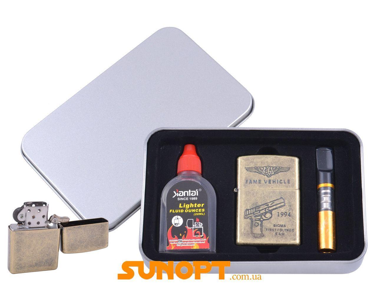 Зажигалка бензиновая в подарочной коробке (Баллончик бензина/Мундштук) Пистолет №XT-3865-3