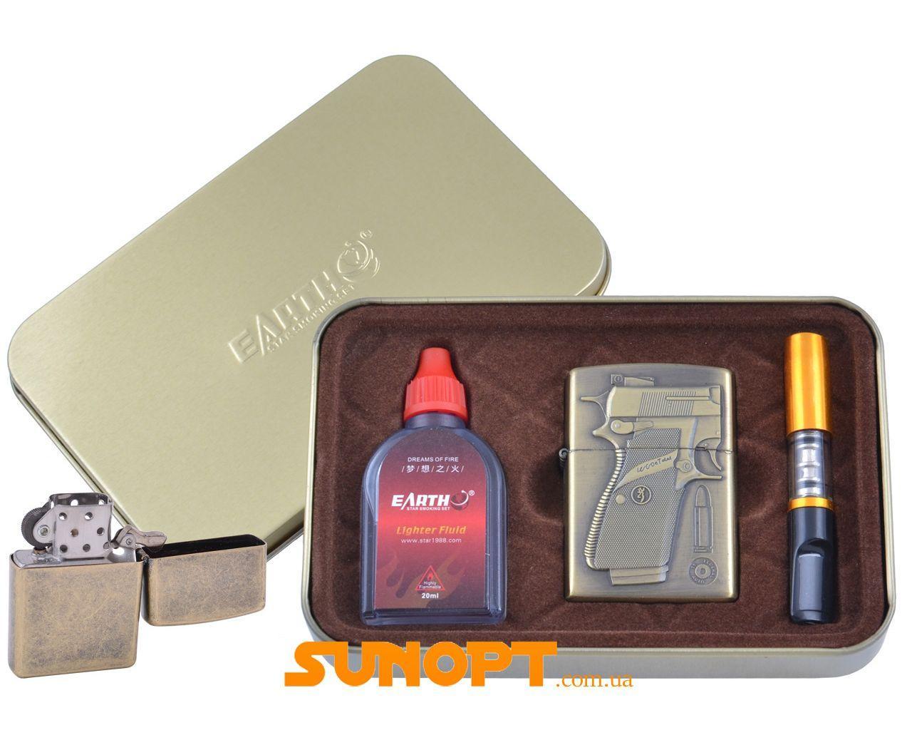 Зажигалка бензиновая в подарочной коробке (Баллончик бензина/Мундштук) Пистолет №XT-4932-2