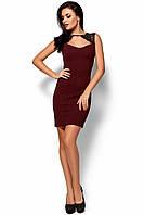 Стильное короткое платье с декольте в обтяжку без рукавов кружево на плечах марсала
