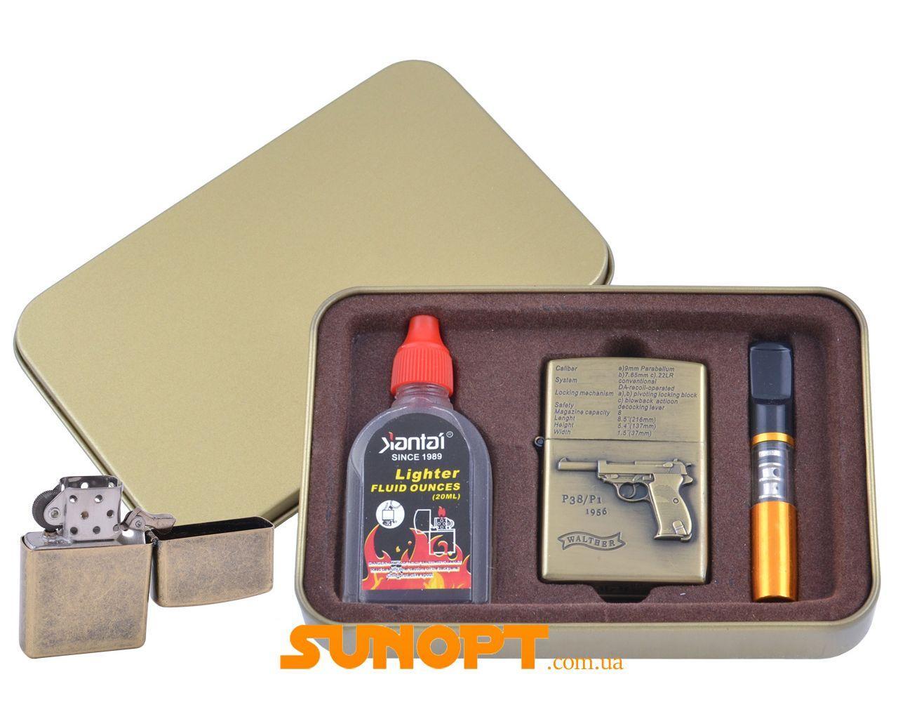 Зажигалка бензиновая в подарочной коробке (Баллончик бензина/Мундштук) Пистолет P38/P1 №XT-4716-4