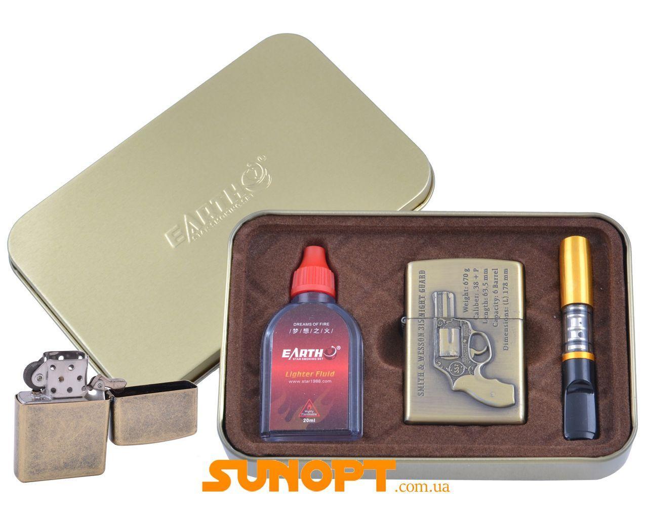 Зажигалка бензиновая в подарочной коробке (Баллончик бензина/Мундштук) Револьвер №XT-4932-3