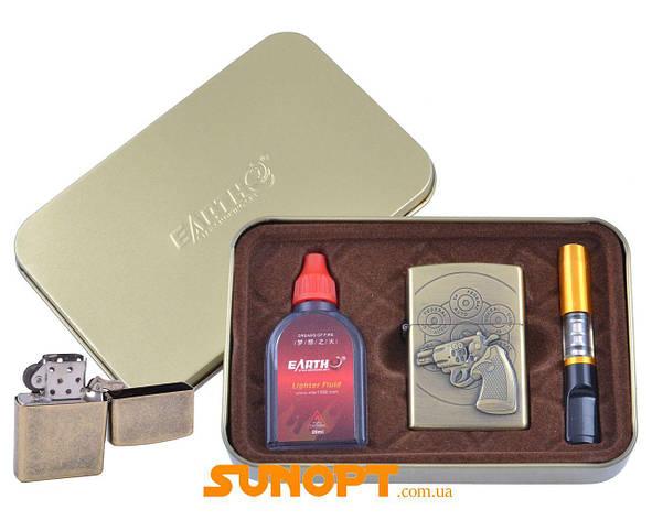 Зажигалка бензиновая в подарочной коробке (Баллончик бензина/Мундштук) Револьвер №XT-4932-4, фото 2