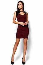 Стильное короткое платье с декольте в обтяжку без рукавов кружево на плечах марсала, фото 2