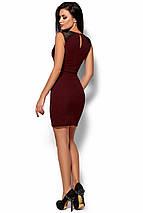Стильное платье выше колен по фигуре без рукав кружевная вставка декольте марсала, фото 3